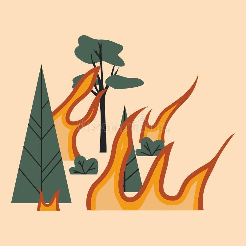 Bomen en vlammen Het bos is op brand Taiga is op brand Brandende bos Vlakke vectorillustratie royalty-vrije illustratie
