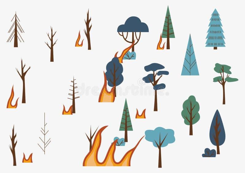 Bomen en vlammen. Het bos staat in brand. Begrip van de gevolgen van bosbranden. De bossen in brand voor en na royalty-vrije illustratie