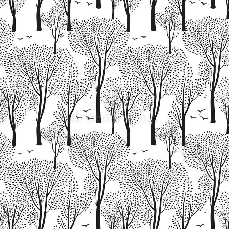 Bomen en vogels aard naadloos patroon Bos achtergrond vector illustratie