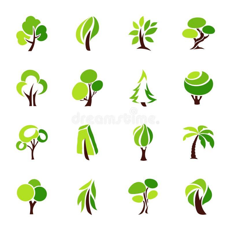 Bomen. Inzameling van ontwerpelementen. stock illustratie
