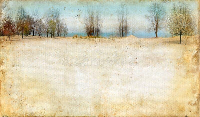 Bomen langs een Meer op Achtergrond Grunge royalty-vrije stock afbeeldingen