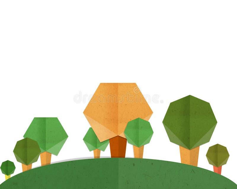 Bomen met bergdocument ambacht royalty-vrije stock afbeelding