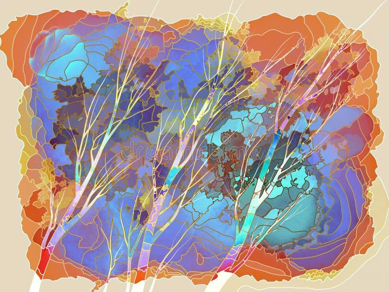 Bomen met Kleurrijk Geometrisch Gebladerte & Abstracte Hemel royalty-vrije stock afbeeldingen