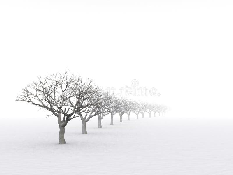 Bomen in nevelige nevel royalty-vrije illustratie