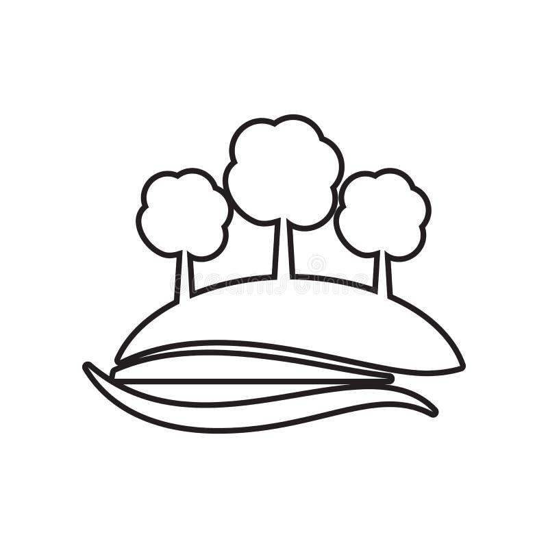 bomen op een heuvelpictogram Element van Landschap voor mobiel concept en webtoepassingenpictogram Overzicht, dun lijnpictogram v vector illustratie