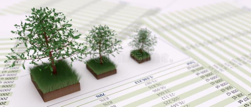 Bomen op grasrijk grondflard en op financal dossiers stock illustratie