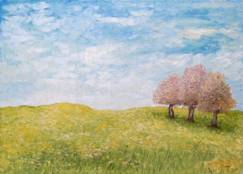 Bomen op groen gebied, olieverfschilderij royalty-vrije illustratie