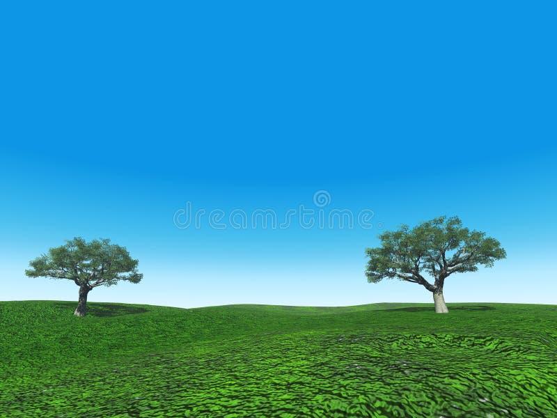 Bomen op het gebied stock illustratie