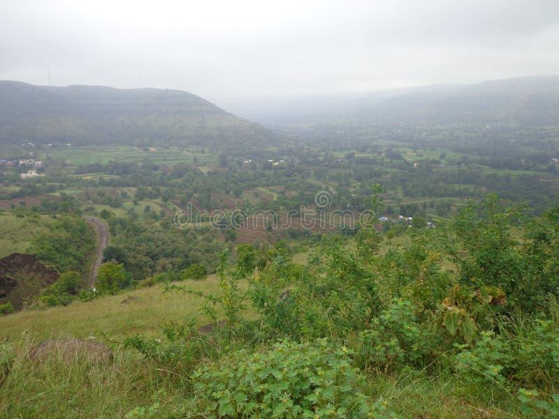 bomen op Heuvels en bergengroen toneelmening royalty-vrije stock foto's