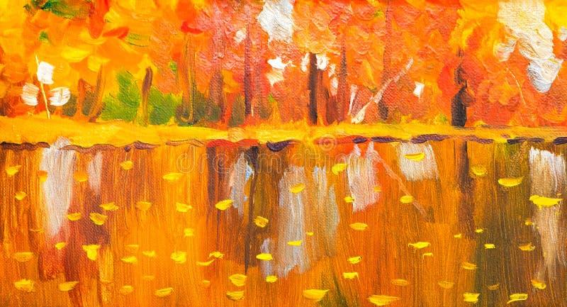 Bomen van de olieverfschilderij de kleurrijke herfst Semi abstract beeld van bos, espbomen met geel - rood blad en meer De herfst stock illustratie