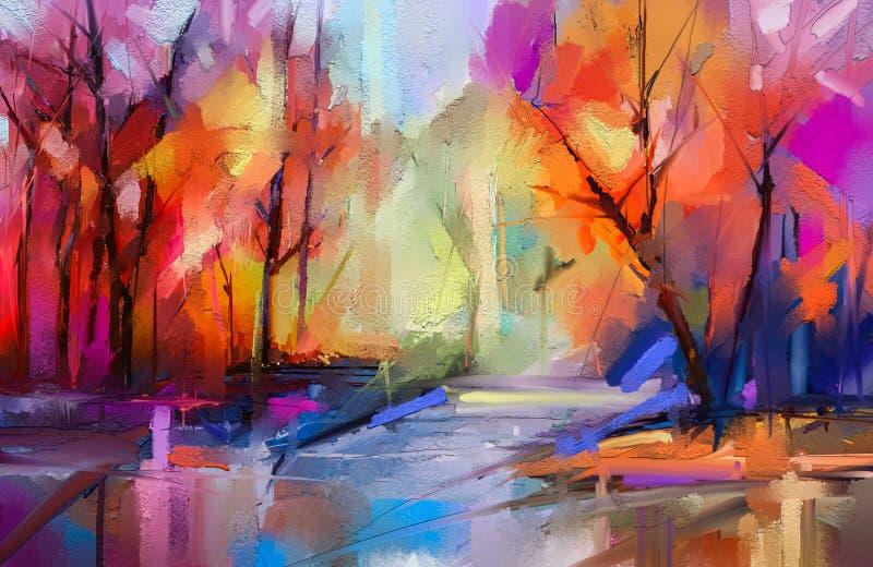 Bomen van de olieverfschilderij de kleurrijke herfst Semi abstract beeld van bos, landschappen met geel - rood blad en meer vector illustratie