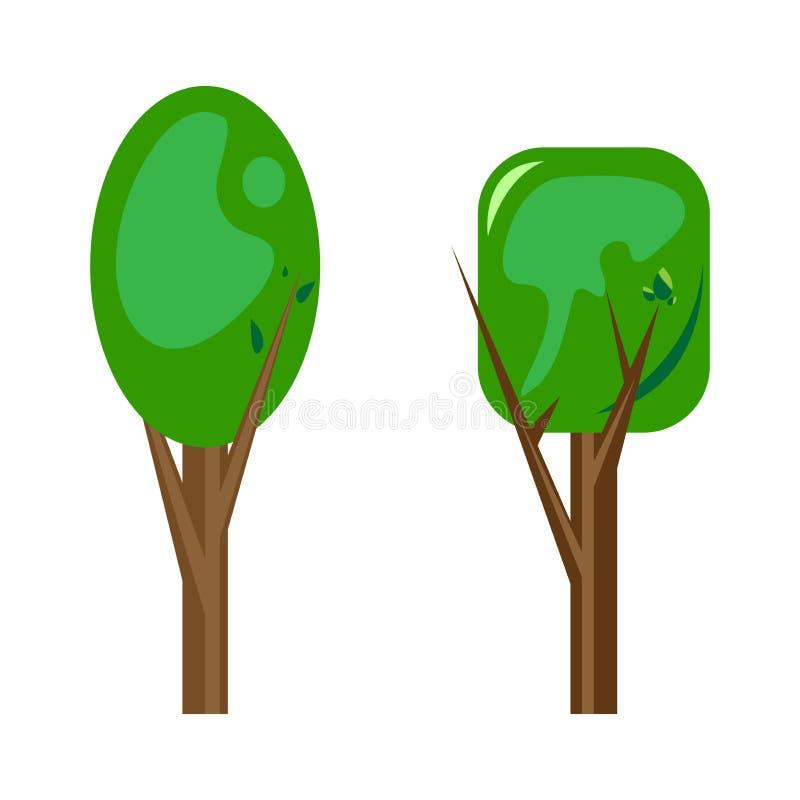 Bomen voor decoratie Vector illustratie Twee soorten royalty-vrije illustratie