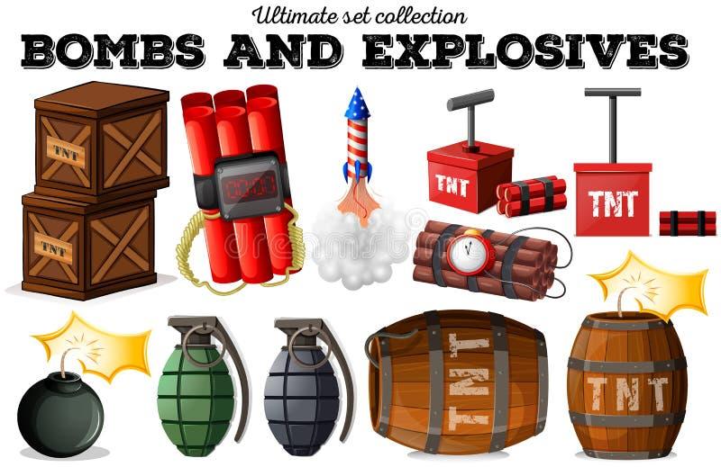 Bommen en explosieve voorwerpen royalty-vrije illustratie