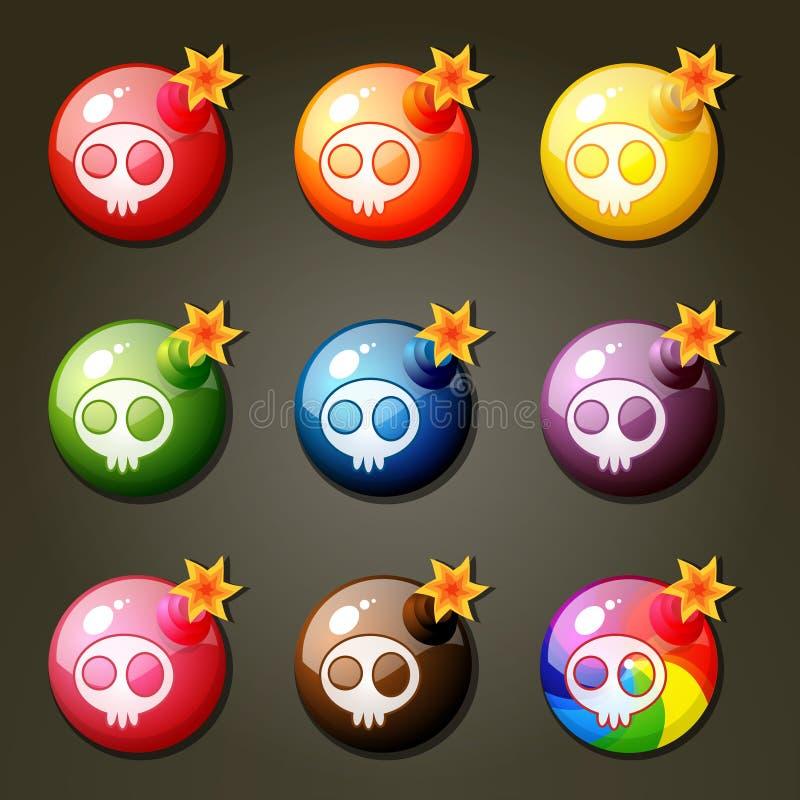 Bommen voor Gelijke Drie Spel vector illustratie