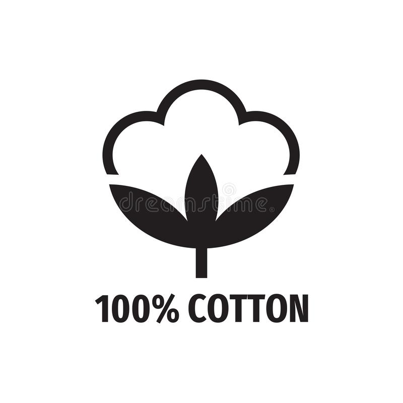 100% bomull - design för rengöringsduksvartsymbol Tecken för naturlig fiber ocks? vektor f?r coreldrawillustration royaltyfri illustrationer