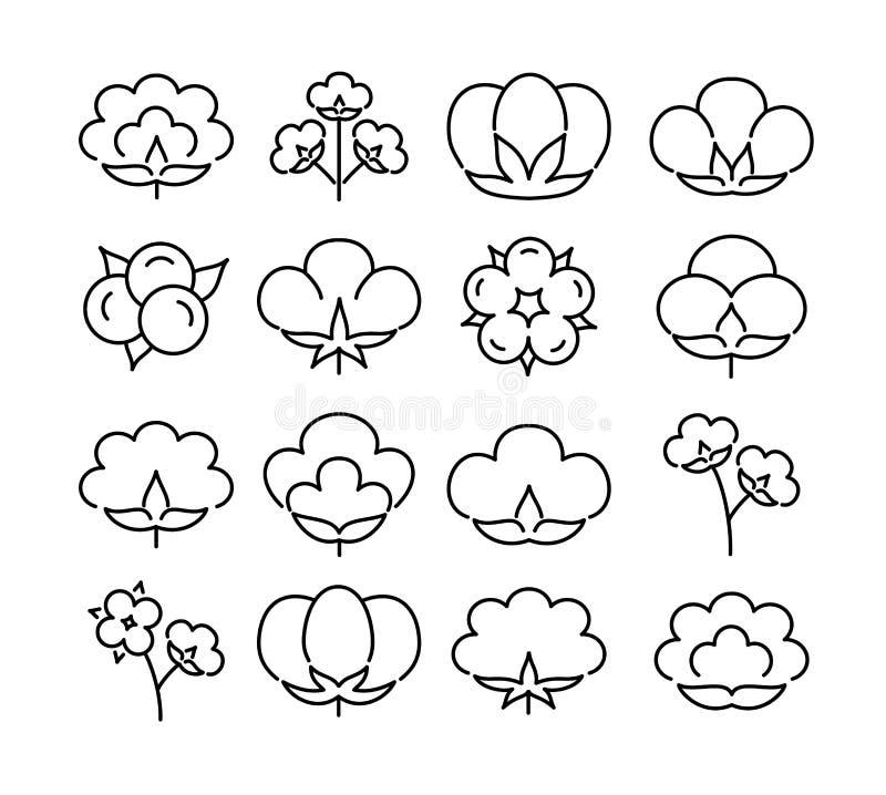 Bomullsblomma & boll Linje symbolsupps?ttning Symbol & logo för den organiska textilen för naturlig eco, tyg Svart & vit vektoril vektor illustrationer