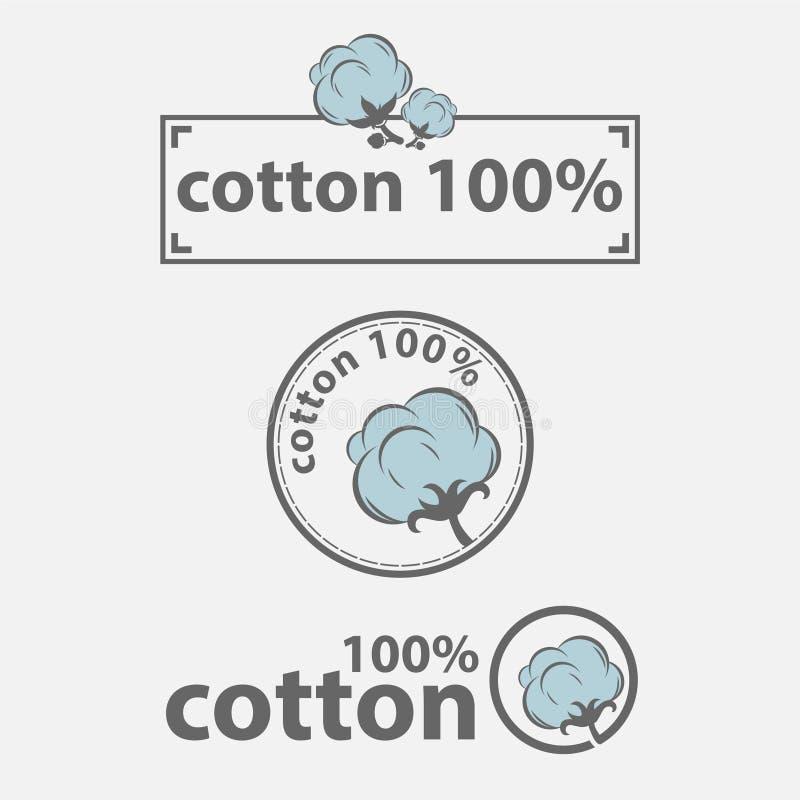 Bomullsetiketter eller logo för rena etiketter för 100 procent naturliga bomullstextil stock illustrationer