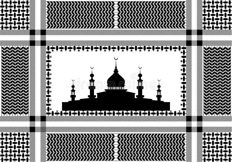 Bomullshalsduk med trycket för hundtand och moskékonturn royaltyfri illustrationer