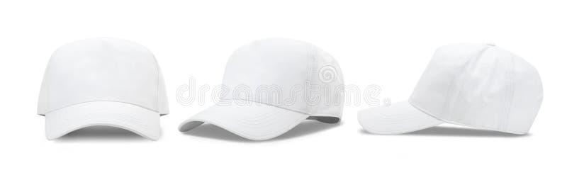 Boné de beisebol branco isolado no fundo branco com o trajeto de grampeamento Vista dianteira e lateral fotos de stock royalty free