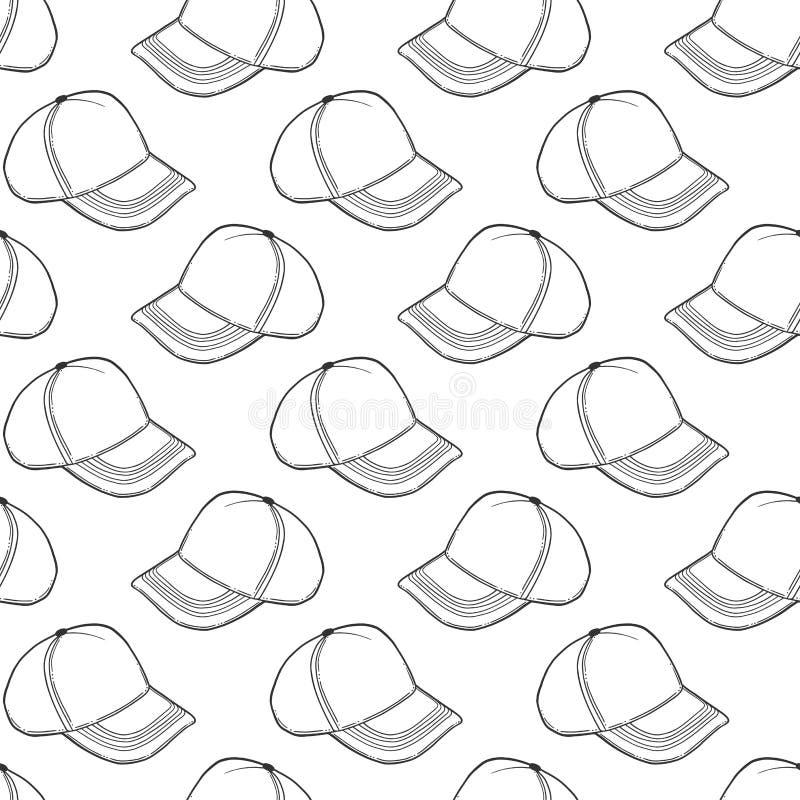 Boné de beisebol, chapéu do camionista Conceito do vetor no estilo da garatuja e do esboço Ilustração tirada mão para imprimir em ilustração stock