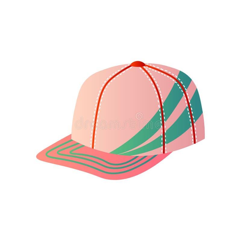 Boné de beisebol cor-de-rosa com a decoração verde em um lado no branco ilustração royalty free