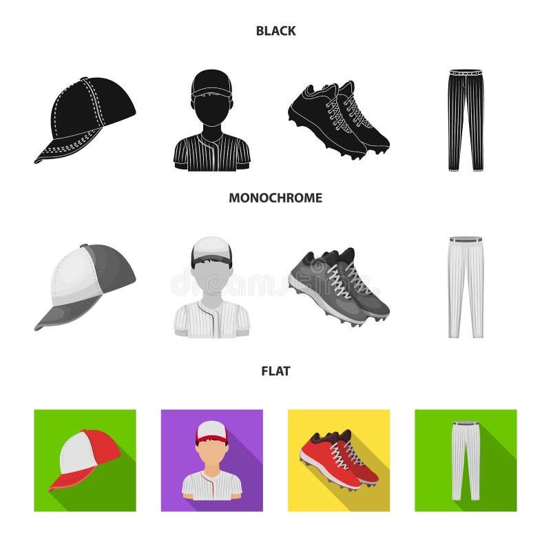 Boné de beisebol, jogador e outros acessórios Ícones ajustados da coleção do basebol no símbolo preto, liso, monocromático do vet ilustração do vetor