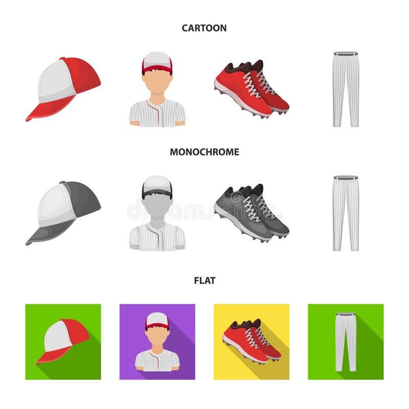 Boné de beisebol, jogador e outros acessórios Ícones ajustados da coleção do basebol nos desenhos animados, símbolo liso, monocro ilustração stock