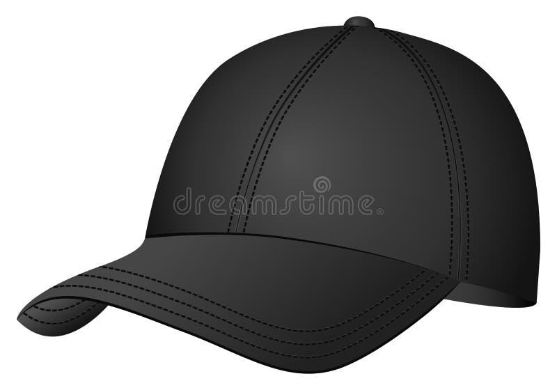 Boné de beisebol preto ilustração stock