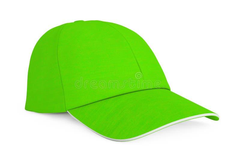 Boné de beisebol verde da forma rendição 3d ilustração stock
