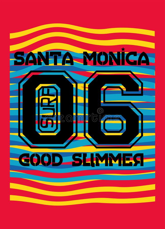 Bon été de Santa Monica, vecteur de mode de conception de T-shirt illustration de vecteur