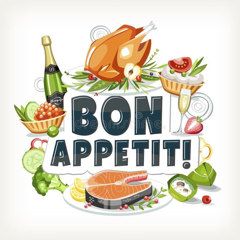 Bon appetit ετικετών εορταστικό ho πιάτων επιγραφών γράφοντας μαγειρευμένο τρόφιμα απεικόνιση αποθεμάτων