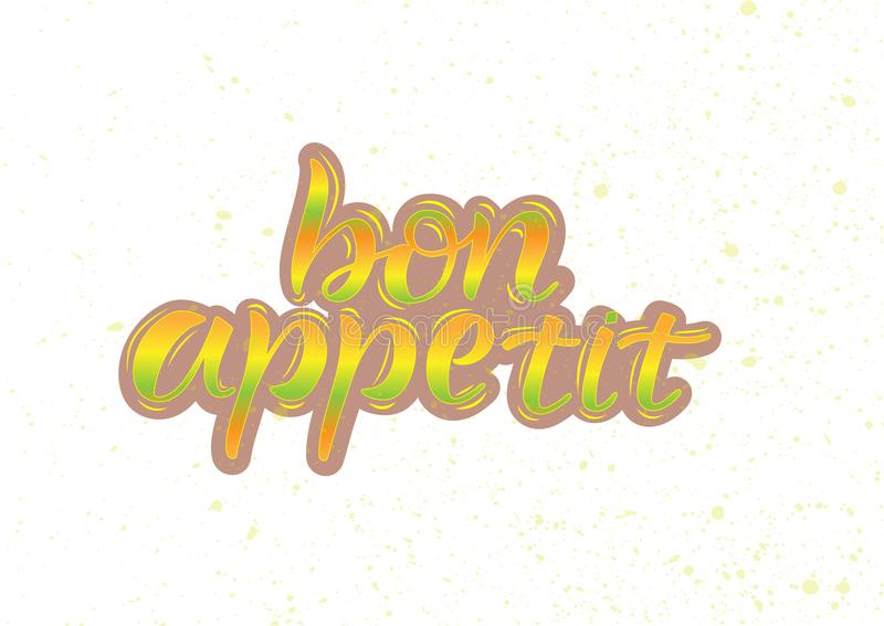 Bon appetit, beschriftend vektor abbildung
