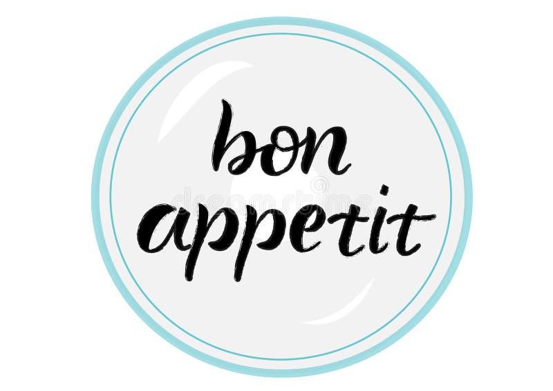 Bon appetit, beschriftend stock abbildung