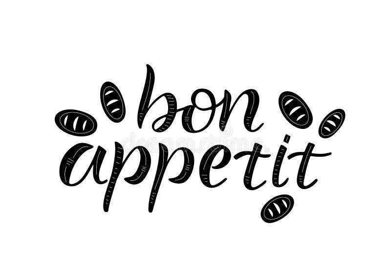 Bon appetit, beschriftend lizenzfreie abbildung