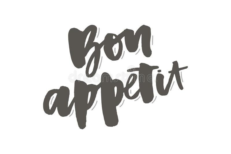 Bon appetit 2 beschriftendes Kalligraphiebürstenentwurfs-Tintenschwarzes lizenzfreie abbildung