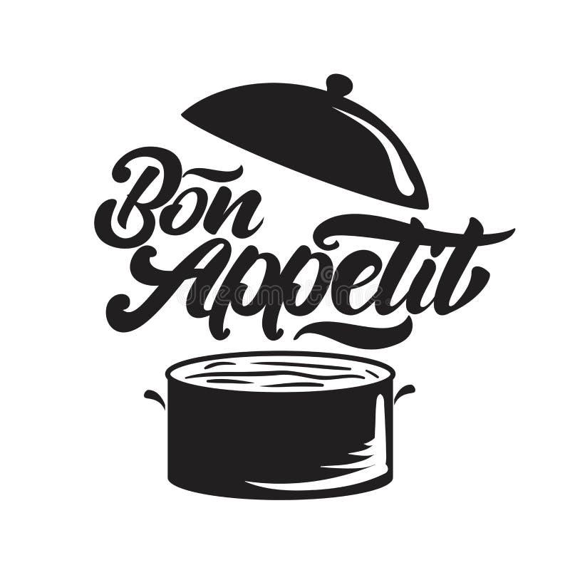 Bon appetit Beschriftung mit Wannenillustration Auch im corel abgehobenen Betrag lizenzfreie abbildung