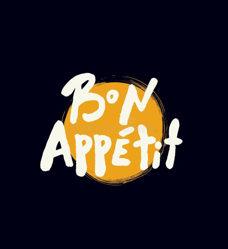 Bon Appetit Bokstäveraffisch royaltyfri illustrationer