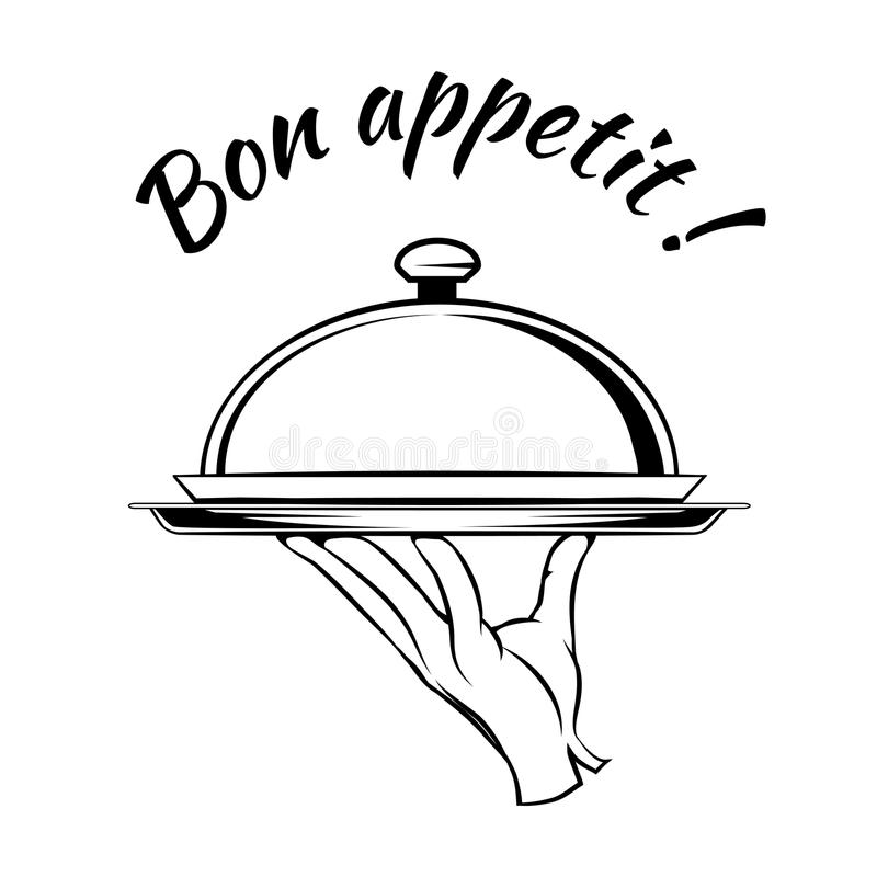 Bon Appetit delicious dish element. For a restaurant menu with the hand of a waiter or chef carrying a tray with a food dome under the arched text - Bon Appetit royalty free illustration