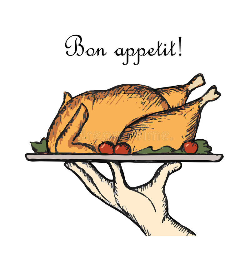Bon Appetit delicious dish. Element for a restaurant menu with the hand of a waiter or chef. The sketch tray with roasted duck royalty free illustration