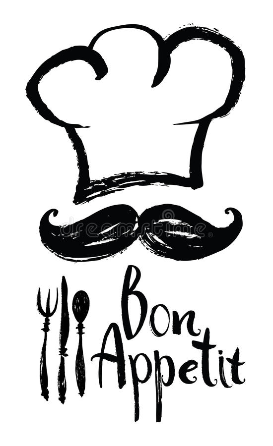 Bon Appetit design card with chef hat and moustache stock illustration