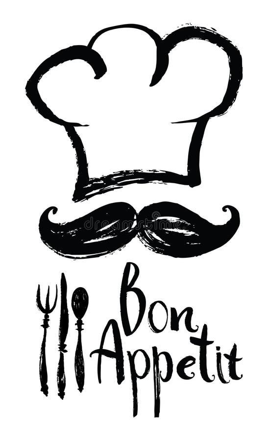 Bon Appetit-Designkarte mit Chefhut und -schnurrbart stock abbildung
