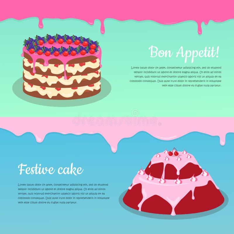 Bon Appetit Festliche Kuchen-Netz-Fahne Schokolade lizenzfreie abbildung