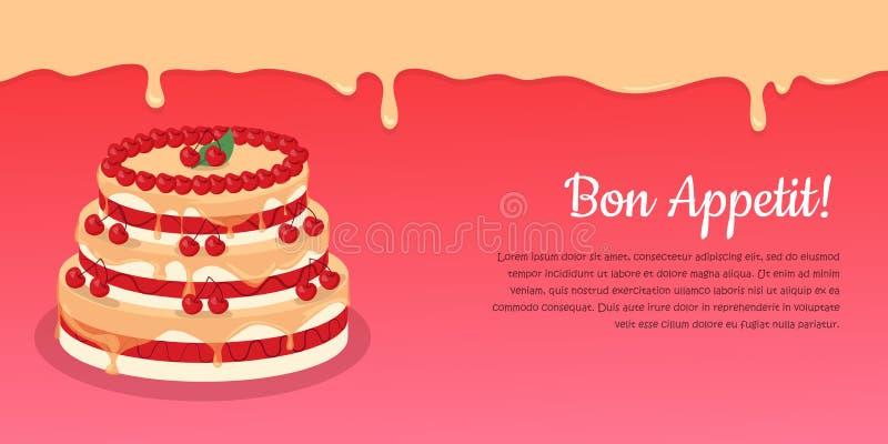 Bon Appetit Festliche Kuchen-Netz-Fahne Schokolade stock abbildung
