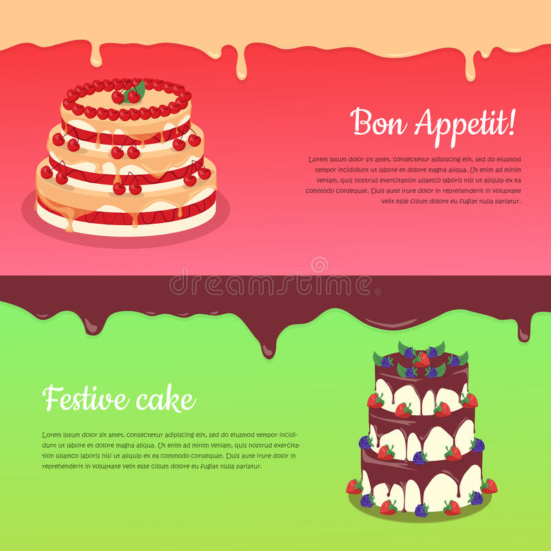 Bon Appetit Festliche Kuchen-Netz-Fahne Schokolade vektor abbildung