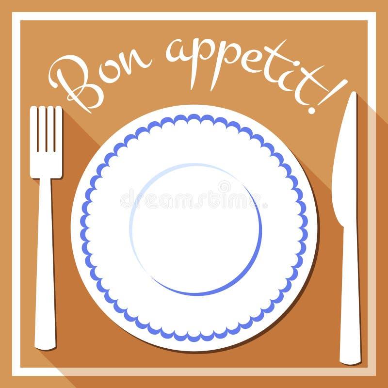 Bon appetit flache Ikone mit cutlety vektor abbildung