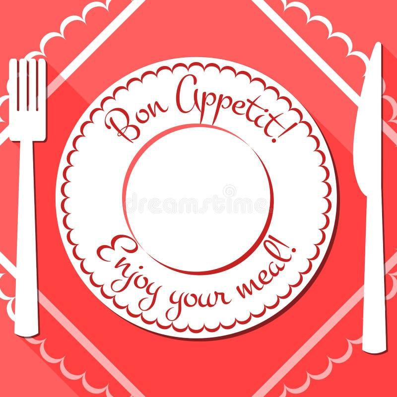 Bon appetit flache Ikone mit cutlety stock abbildung