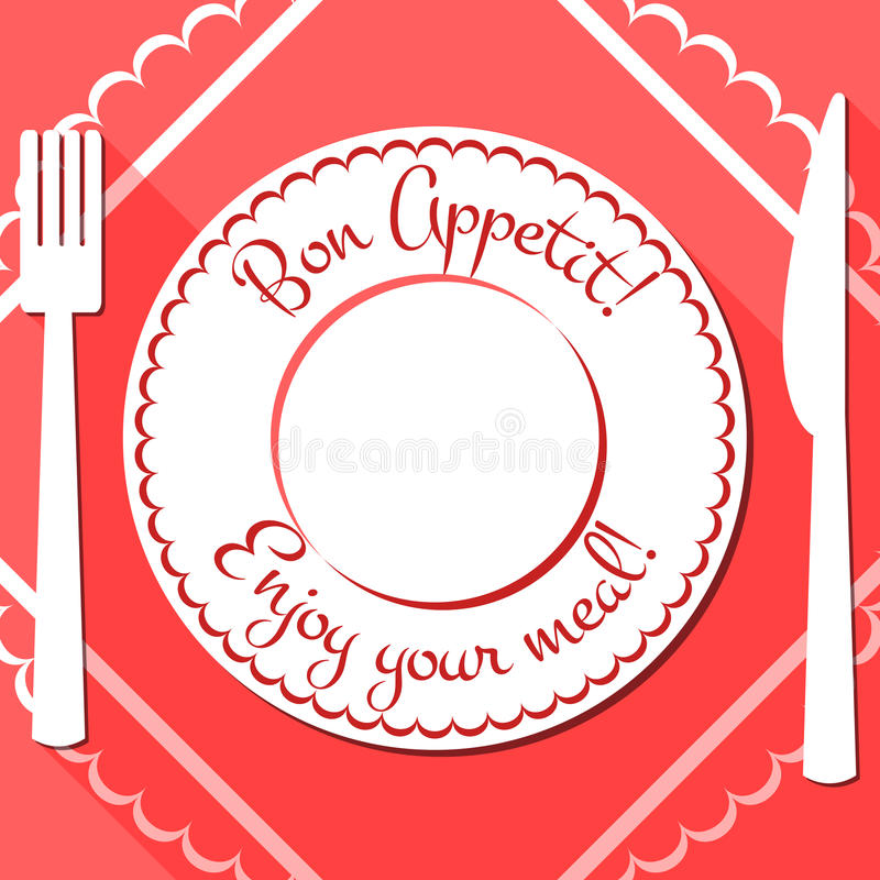 Bon appetit flat icon with cutlety stock illustration