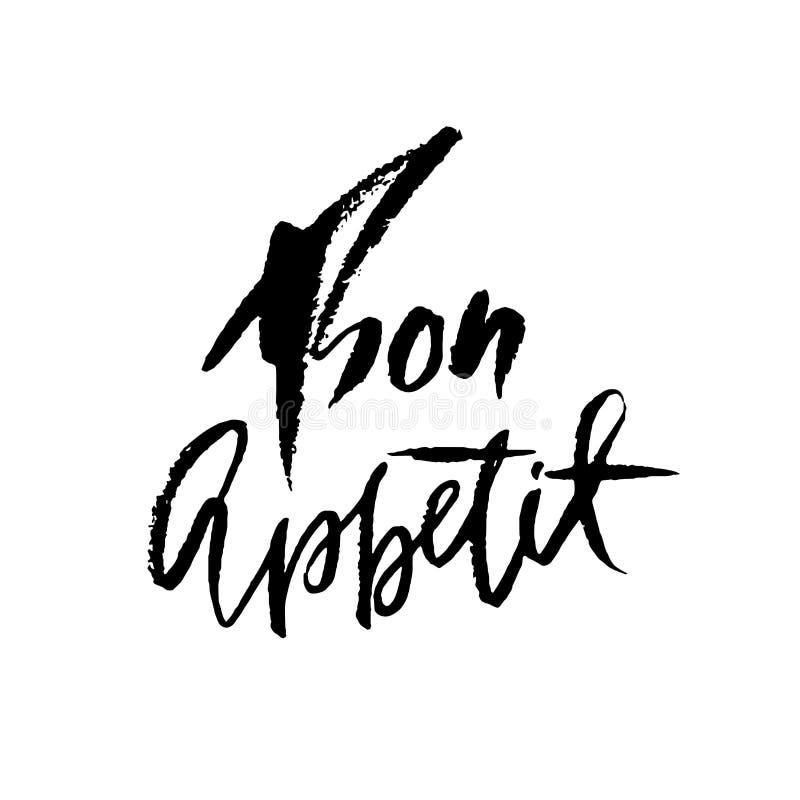 Bon Appetit Frase dibujada mano Moderno seque las letras del cepillo Ilustración del vector libre illustration