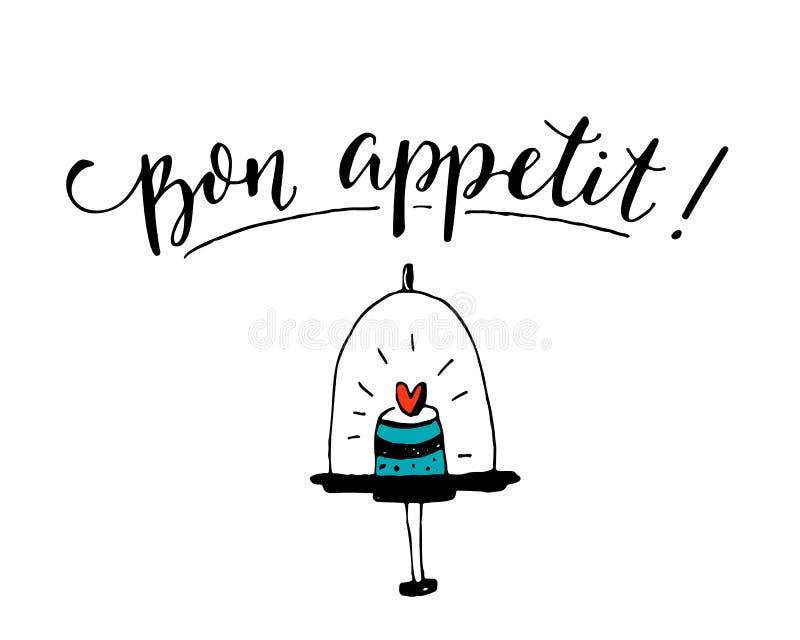 Bon Appetit Geniet van uw maaltijd in het Frans Het ontwerp van de koffieaffiche met moderne kalligrafie op witte achtergrond met vector illustratie