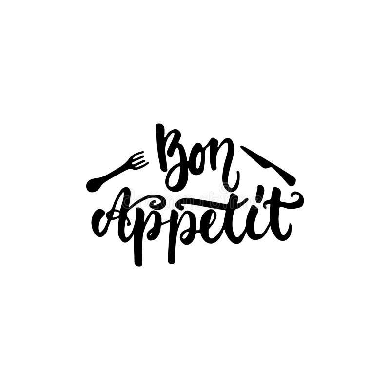 Bon appetit - Hand gezeichnet, die Phrase beschriftend lokalisiert auf dem weißen Hintergrund Spaßbürsten-Tintenaufschrift für Fo lizenzfreie abbildung